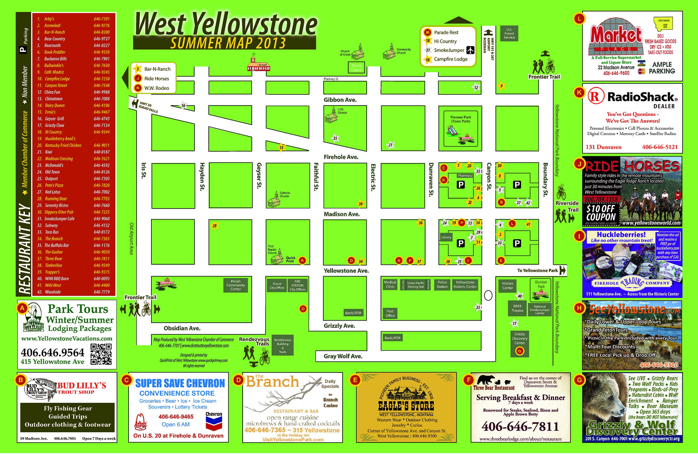 Maps - Town West YellowstoneTown West Yellowstone